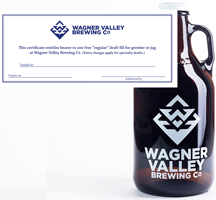 32oz Glass Jug small growler with the Wagner Valley Brewing Co Logo w/ Fill Certificate