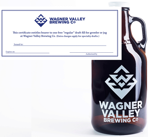32oz Glass Jug small growler with the Wagner Valley Brewing Co Logo w/ Fill Certificate MAIN
