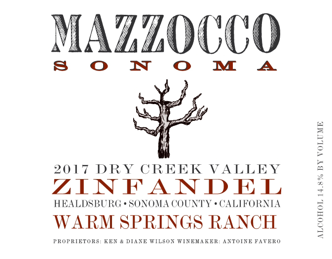 2017 Mazzocco Zinfandel, Warm Springs Ranch MAIN