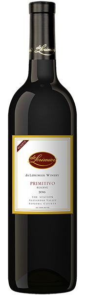 2016 deLorimier Winery Primitivo Reserve, Alexander Valley, The Station