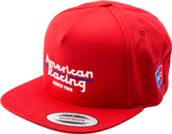 "AMERICAN RACING LOGO SNAPBACK ""FLAT BILL"" HAT - RED OR BLACK Mini-Thumbnail"