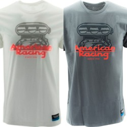 "AMERICAN RACING ""BLOWER"" TSHIRT - WHITE OR CHARCOAL"