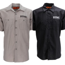 SHOP: KMC WHEELS APPAREL RED KAP BUTTON UP SHIRT THUMBNAIL