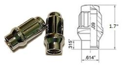 CHROME ET (Extended Thread) 6 SPLINE CLOSED END LUG NUTS