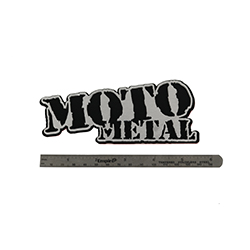 "MOTO METAL LOGO VEHICLE BADGE  5.1/2"" SWATCH"