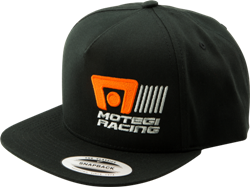 "MOTEGI RACING LOGO SNAPBACK ""FLAT BILL"" HAT - BLACK THUMBNAIL"