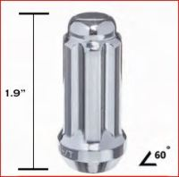 LONG CHROME 6 SPLINE CLOSED END LUG NUT THUMBNAIL