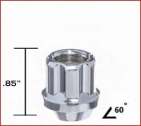 CHROME 6 SPLINE OPEN END LUG NUT THUMBNAIL