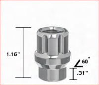 CHROME ET (Extended Thread) 6 SPLINE OPEN ENDED LUG NUT MAIN