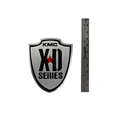 "KMC XD SERIES BRAND 3.25"" LOGO VEHICLE EMBLEM BADGE METAL"