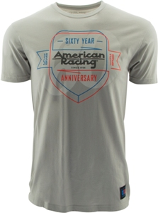 "AMERICAN RACING 60 YEARS ""SHIELD"" TSHIRT - LT. GREY OR CHARCOAL_SWATCH"