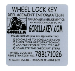 GORILLA BRAND - REPLACEMENT KEY MAIN